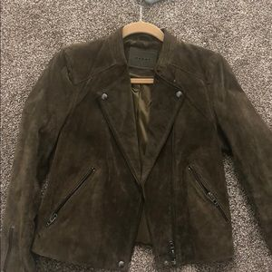 BLANK NYC Olive Green Faux Suede Moto Jacket